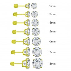 Wholesale 14 Karat Yellow Gold Screw Backing Round Stud Earrings - 14E00001