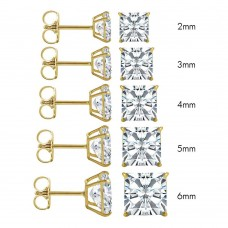 Wholesale 14 Karat Yellow Gold Push Backing Square Stud Earrings - 14K-SQ-P
