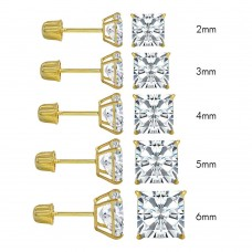 Wholesale 14 Karat Yellow Gold Screw Backing Square Stud Earrings - 14K-SQ-S