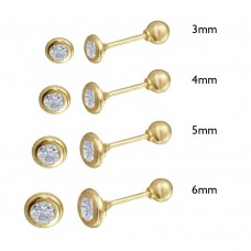 Wholesale 14 Karat Yellow Gold Screw Back Bezel Round CZ Stud Earrings - 14K-RD-BZL-S