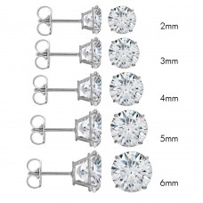 Wholesale 14 Karat White Gold Push Backing Round Stud Earrings - 14KW-RD-P