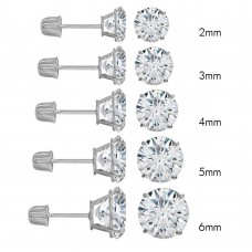 Wholesale 14 Karat White Gold Screw Backing Round Stud Earrings - 14KW-RD-S