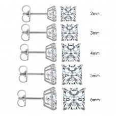 Wholesale 14 Karat White Gold Push Backing Square Stud Earrings - 14KW-SQ-P