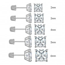 Wholesale 14 Karat White Gold Screw Backing Square Stud Earrings - 14KW-SQ-S
