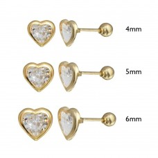 Wholesale 14 Karat Yellow Gold Screw Back Bezel Heart CZ Stud Earrings - 14K-HRT-BZL-S