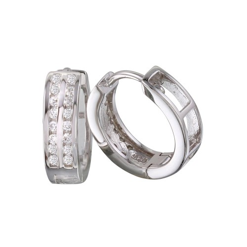 Wholesale Sterling Silver 925 Rhodium Plated Round Clear CZ Huggie Earrings - AAE00004-11MM