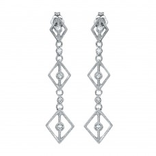 Wholesale Sterling Silver 925 Rhodium Plated Dangling Linked Rhombus Earrings with CZ - ACE00009