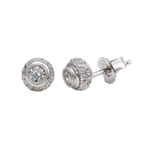 Wholesale Sterling Silver 925 Rhodium Plated Micro Pave Clear Round CZ Stud Earrings - ACE00060