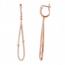 Wholesale Sterling Silver 925 Rose Gold Plated Dangling Open Tear Drop CZ Huggie Earrings - ACE00098RGP