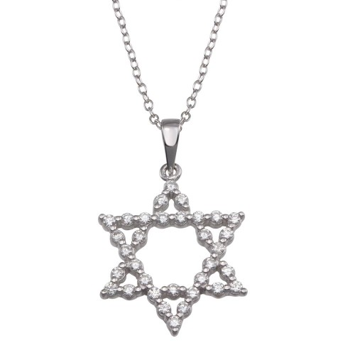 Wholesale Sterling Silver 925 Rhodium Plated Open Star CZ Dangling Wire Pendant - ACP00003