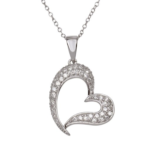 Wholesale Sterling Silver 925 Rhodium Plated Open Heart CZ Dangling Pendant - ACP00013