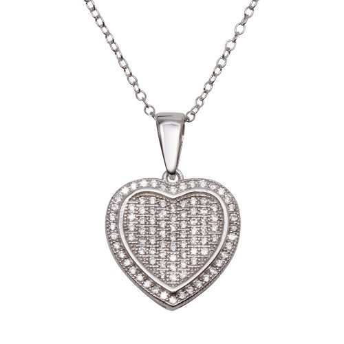 Wholesale Sterling Silver 925 Rhodium Plated Heart Micro Pave CZ Dangling Pendant - ACP00047