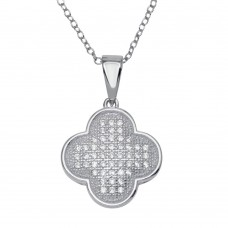 Wholesale Sterling Silver 925 Rhodium Plated Clover Micro Pave CZ Dangling Pendant - ACP00049