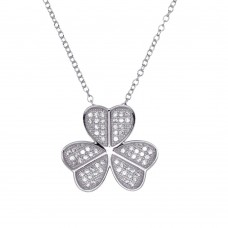 Wholesale Sterling Silver 925 Rhodium Plated Clover Micro Pave CZ Pendant - ACP00055