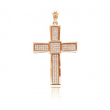 Wholesale Sterling Silver 925 Rose Gold Plated Cross Micro Pave CZ Dangling Pendant - ACP00067RGP