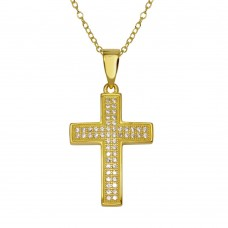 Wholesale Sterling Silver 925 Gold Plated Cross Inlay Micro Pave CZ Cross Pendant - ACP00069GP