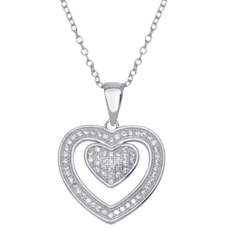 Wholesale Sterling Silver 925 Rhodium Plated Open Heart Micro Pave CZ Dangling Pendant - ACP00070