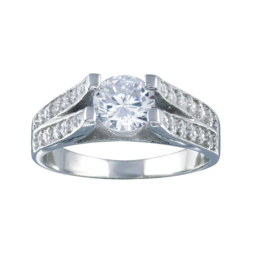 Wholesale Sterling Silver 925 Rhodium Plated Clear Pave Set Round Center CZ Engagement Ring - AAR0078