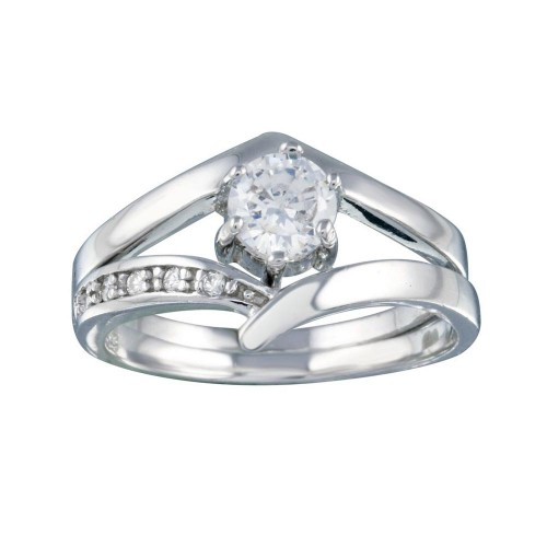 Wholesale Sterling Silver 925 Rhodium Plated Clear Pave Set and Round Center CZ Engagement Ring - AAR0082