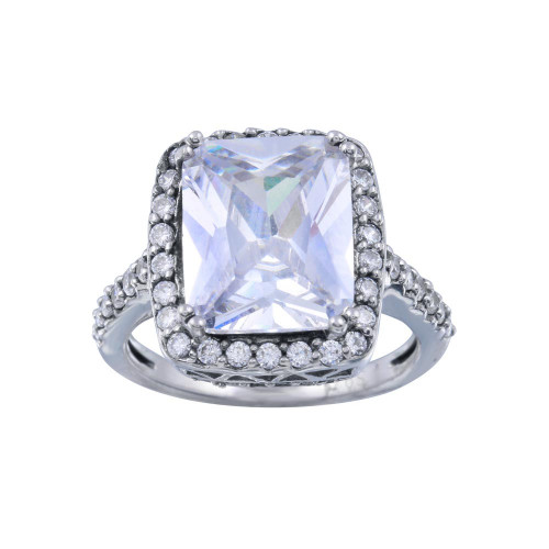 Wholesale Sterling Silver 925 Rhodium Plated Clear Cluster CZ Square Ring - ACR00008
