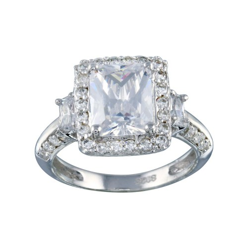 Wholesale Sterling Silver 925 Rhodium Plated Clear Cluster CZ Square Ring - ACR00009