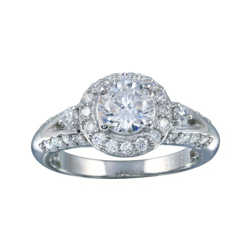 Wholesale Sterling Silver 925 Rhodium Plated Clear Cluster CZ Round Ring - ACR00019