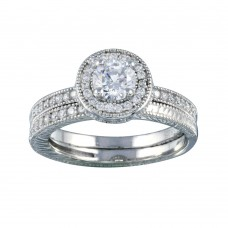 Wholesale Sterling Silver 925  Rhodium Plated Micro Pave CZ Engagement Ring Set - ACR00023