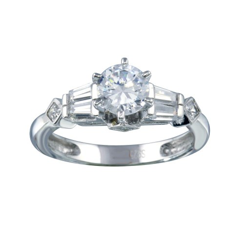 Wholesale Sterling Silver 925 Rhodium Plated Clear Baguette Round Center CZ Ring - ACR00028