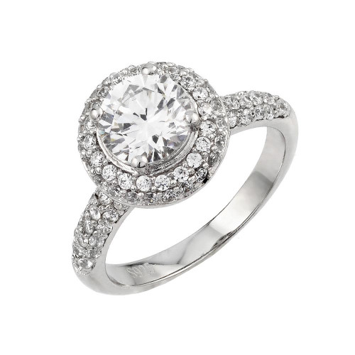Wholesale Sterling Silver 925 Rhodium Plated Micro Pave Solitaire CZ Ring - ACR00039