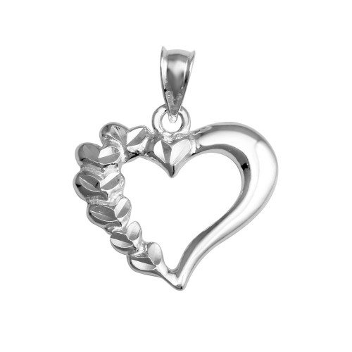 Wholesale Sterling Silver 925 Rhodium Plated Open Half Leaves Heart Pendant - AJP00002