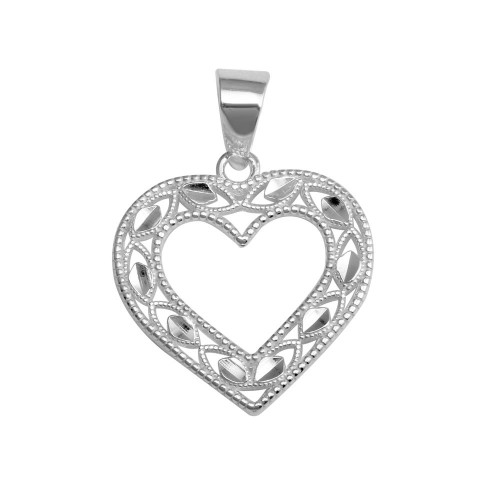 Wholesale Sterling Silver 925 Rhodium Plated Open Heart Pendant - AJP00003