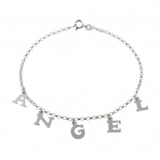 Wholesale Sterling Silver 925 ANGEL Dangling Charm Link Anklet - ANK00012