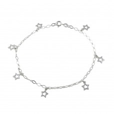 Wholesale Sterling Silver 925 Open Star Dangling Charm Link Anklet - ANK00013
