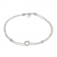 Wholesale Sterling Silver 925 Open Heart Center Rolo Link Anklet - ANK00014