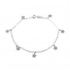 Wholesale Sterling Silver 925 Dangling Stars Link Anklet - ANK00015