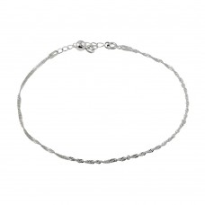 Wholesale Sterling Silver 925 Dangling Bell Singapore Link Anklet - ANK00016