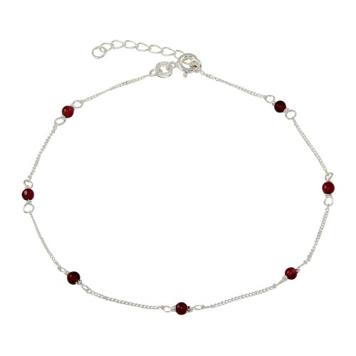 Wholesale Sterling Silver 925 Red Beaded Anklet - ANK00017
