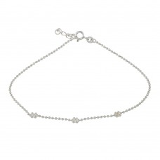 Wholesale Sterling Silver 925 3 Flower Beaded Anklet - ANK00019