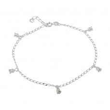Wholesale Sterling Silver 925 Multi Bell Dangling Anklet - ANK00021
