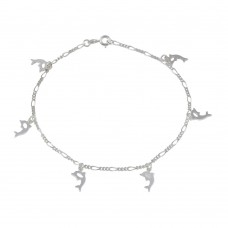 Wholesale Sterling Silver 925 Multi Dolphin Dangling Anklet - ANK00022