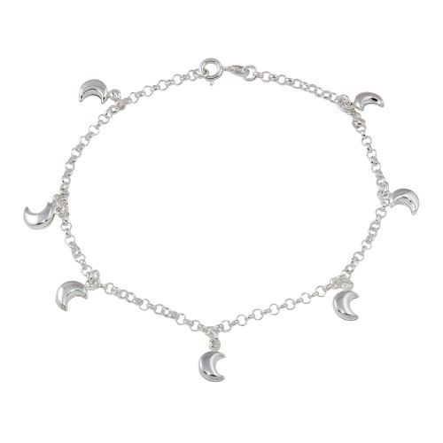 Wholesale Sterling Silver 925 Multi Half Moon Dangling Anklet - ANK00023