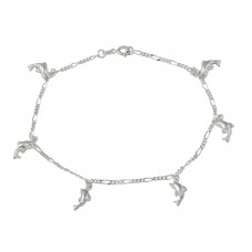 Wholesale Sterling Silver 925 Multi Puff Dolphin Dangling Anklet - ANK00024