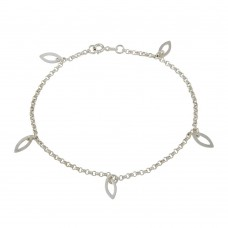 Wholesale Sterling Silver 925 Multi Eye Shape Charm Dangling Anklet - ANK00025