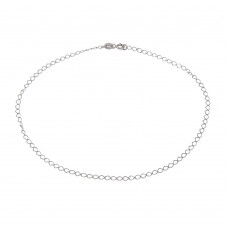 Wholesale Sterling Silver 925 Rhodium Wide Open Link Anklet - ANK00027RH