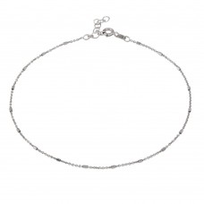 Wholesale Sterling Silver 925 Rhodium DC Tube Link Anklet - ANK00028RH