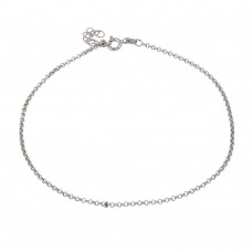 Wholesale Sterling Silver 925 Rhodium Rolo Link Anklet 1.7mm - ANK00029RH