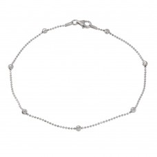 Sterling Silver Rhodium Plated Alternating Wave Design Diamond Cut Bead Anklet - CHA100RH