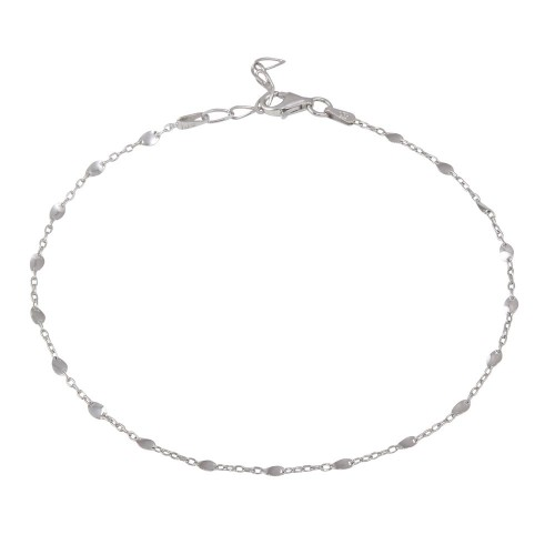 Wholesale Sterling Silver 925 Rhodium Plated Twisted Disc Link Anklet - CHA117RH