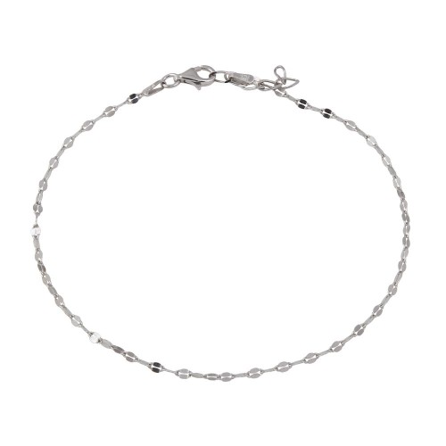 Wholesale Sterling Silver 925 Rhodium Plated Open Confetti DC Link Anklet - CHA125RH