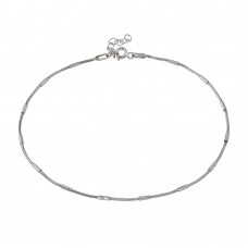 Wholesale Sterling Silver 925 Rhodium Snake Round Tube DC Link Anklet - CHA143RH